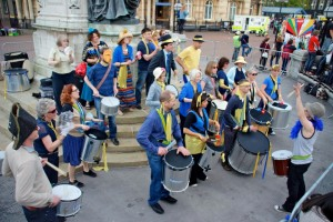 Hull Samba performing in Queen Victoria Square for the Olympic Torch Relay 2012